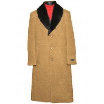 Mens Fur Collar Camel Wool Overcoat full length Topcoat