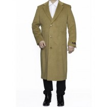 Mens Full Length Wool Dress Camel Color Top Coat / Overcoat
