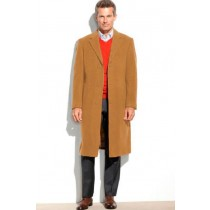 Camel Mens Pea coat 65% Wool full length Overcoat