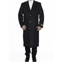 Mens Full Length Wool Dress Charcoal Color Top Coat / Overcoat