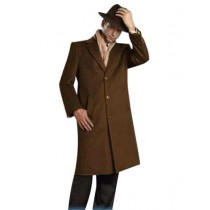 Mens Cognac Alberto Nardoni Brand Full Length Topcoat