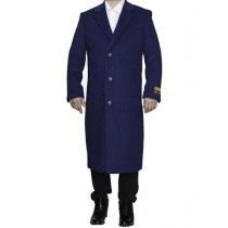 Mens Full Length Wool Indigo Blue Top Coat / Overcoat