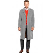 Light Gray 3 Button Wool full length pea coat - Mens Topcoat