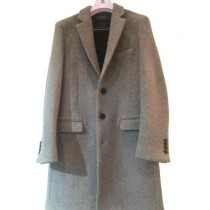 Single breasted Three Button Light Grey Cashmere Overcoat - Mens Cashmere Overcoat