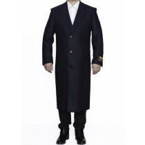 Mens Full Length Wool Dress Navy Blue Color Top Coat / Overcoat