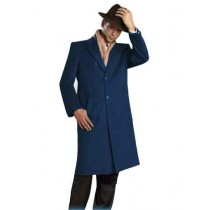 Mens Alberto Nardoni Brand Navy Blue Full Length - Mens Topcoat