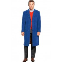 Mens 3 Button Pea Coat full length Navy Overcoat