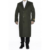 Mens Full Length Wool Dress Top Coat / Overcoat in Olive Green