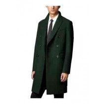 Double Breasted Long Three Button Peak Lapel Overcoat Olive Green