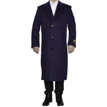 Mens Full Length Wool Dress Top Coat / Overcoat in Purple