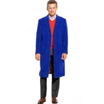 Royal Blue 65% Wool full length Notch Lapel Overcoat / Topcoat