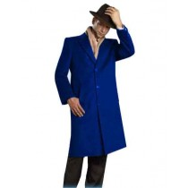 Mens Alberto Nardoni Brand Dark Royal Blue Full Length Topcoat