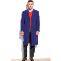 Mens 65% Wool full length Sapphire Notch Lapel Overcoat - Mens Topcoat