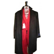 Full Length Dress Coat Three Button Wool Blend Black Overcoat