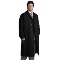 Single Breasted 4 Button Jet Black  Full Length Wool Overcoat