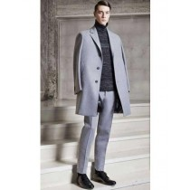 Silver grey mens overcoat – notch lapel wool coat
