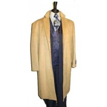 Full Length Three Button Wool Blend Dress Coat Camel Overcoat - Mens Tan Overcoat