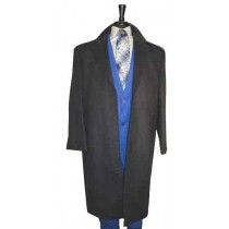 Three Button Long Wool Blend Dress Coat Black Overcoat