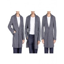 Herringbone Overcoat - Black Tweed Coat Three Quarter Black