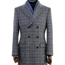 Men's Wool Glen Plaid Double Breasted Top Coat Grey