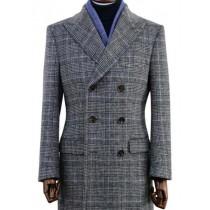Men's Wool Glen Plaid Double Breasted Top Coat Grey