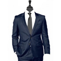Alberto Nardoni  Navy Blue Vested Linen Wedding Suit