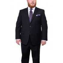 Mens Two Button Black Tonal Herringbone Pattern 100% Wool Suit