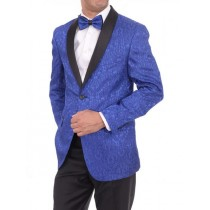 Mens Two Button Slim Fit Shawl Lapel Blue Sportcoat