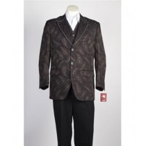 Mens Vested Two Button Brown Peak Lapel Paisley Blazer