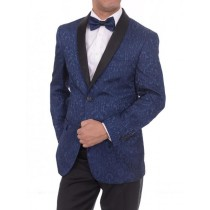 Two Button Slim Fit Shawl Lapel Navy Blue Sportcoat