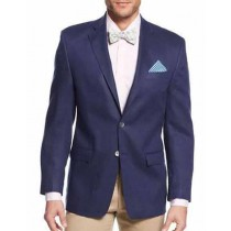 Mens Navy Linen Two Button Single Breasted Sportcoat