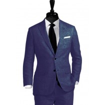 Alberto Nardoni Notch Lapel Navy Blue Linen Wedding Suit