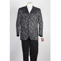BUTTON OLIVE PEAK LAPEL PAISLEY BLAZER