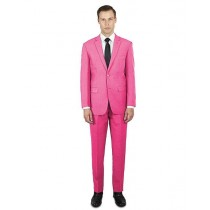 Alberto Nardoni Pink Two Buttons Flat Front Pants Suit