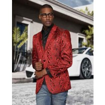 Men Paisley Blazer Jacket Red Sport Coat