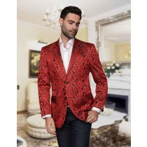Mens Paisley Alberto Nardoni Brand Jacket Red Sport Coat