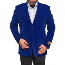 ROYAL BLUE VELVET VELOUR BLAZER OVERCOAT