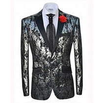 Mens Slim Fit Single Breasted Peak Lapel Silver