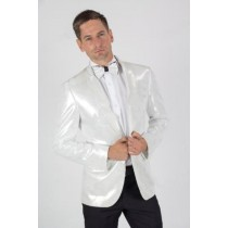 Two Button Mens White Paisley Shiny Blazer Jacket