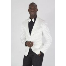Mens White Paisley Shiny Blazer Dinner Jacket