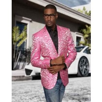 Men Paisley Blazer Jacket Fuschia Sport Coat