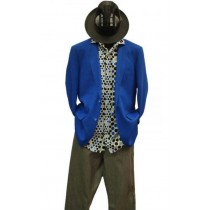 NOTCH LAPEL LINEN COBALT ROYAL BLUE BLAZER