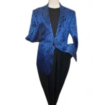 ROYAL BLUE VENTS PAISLEY PATTERN BLAZER