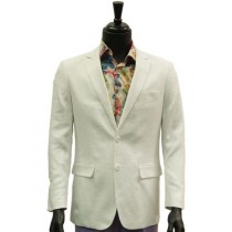 Alberto Nardoni Notch Lapel Linen White Blazer Overcoat