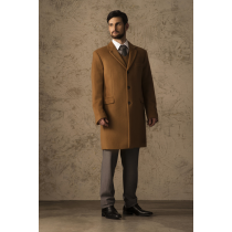 Vicuna - Coat Full Length Center Vent with Three Button Front Overcoat