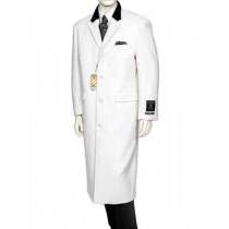 White With Black Velvet Notch Collar Wool/Cashmere Long Overcoat
