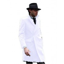 white Mens Knee Length Pea coat Mens Peacoat