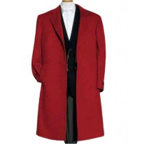 Three Buttons Alberto Nardoni Wine Wool Overcoat - Mens Topcoat