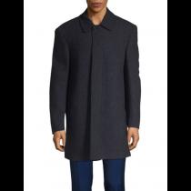 Lauren Ralph Lauren Jake Wool-Blend Fly-Front Topcoat,navy overcoat