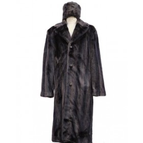 Mens Faux Fur Coat Full Length Overcoat Mens Topcoat Matching Hat Brown